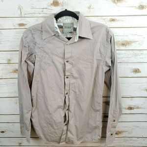 Roar Mens Button Front Embroidered Shirt Small